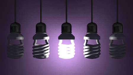 Glowing fluorescent light bulb hanging in socket on wire among switched off ones on violet textured background Stock Photo