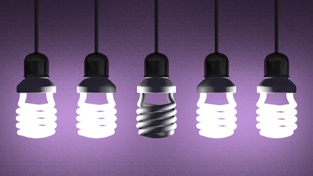 Switched off fluorescent light bulb hanging among glowing ones on violet textured background photo