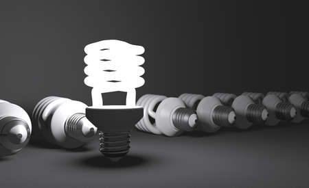 Glowing fluorescent light bulb standing in row of lying switched off ones on gray textured background photo