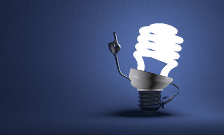 Glowing fluorescent light bulb character with big metallic hands in moment of insight on blue textured background photo