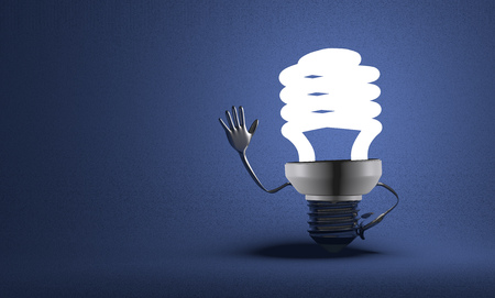 Glowing fluorescent light bulb character waving hand on blue textured background photo