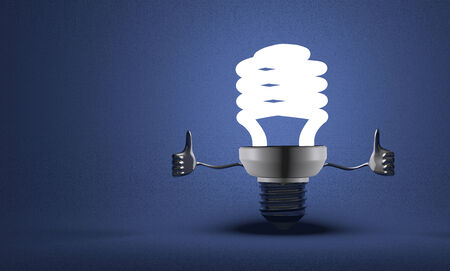 Glowing fluorescent light bulb character giving thumbs up on blue textured background photo