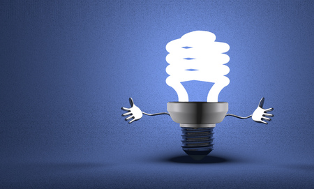 Welcoming glowing fluorescent light bulb character on blue textured background photo