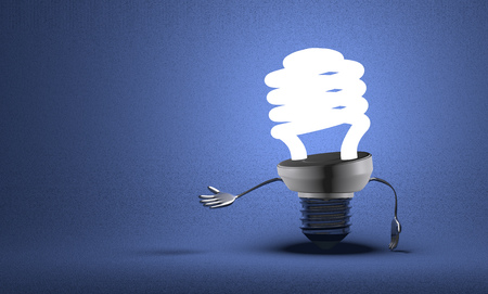Glowing fluorescent light bulb character making inviting gesture on blue textured background photo