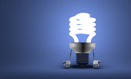 Discouraged glowing fluorescent light bulb character with hands which hang down on blue textured background photo