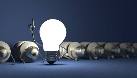 Glowing tungsten light bulb character in moment of insight standing among many switched off lying fluorescent ones on blue textured background photo