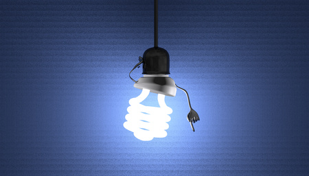 Glowing fluorescent light bulb character in lamp socket on wire in moment of insight on blue textured background
