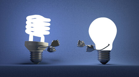 tungsten: Glowing fluorescent light bulb and tungsten one fighting with their fists on blue textured background Stock Photo