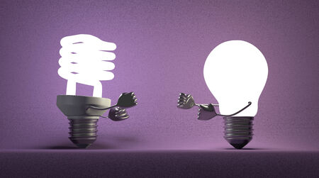 tungsten: Glowing fluorescent light bulb and tungsten one fighting with their fists on violet textured background