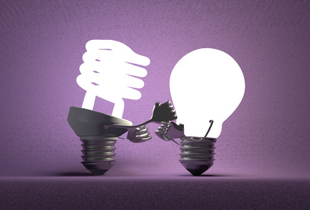 tungsten: Glowing fluorescent light bulb punching tungsten one with its fists on violet textured background Stock Photo