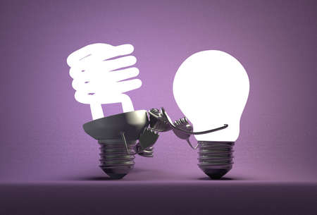 tungsten: Glowing tungsten light bulb punching spiral one with its fists on violet textured background Stock Photo