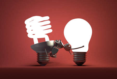 incandescent: Glowing tungsten light bulb punching spiral one with its fists on red textured background