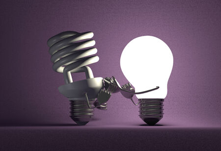tungsten: Glowing tungsten light bulb punching switched off spiral one with its fists on violet textured background