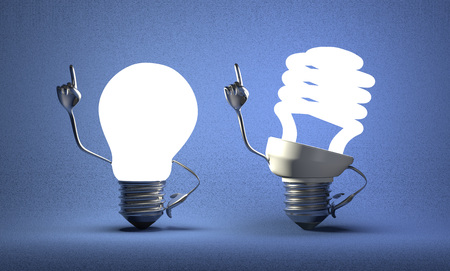 Glowing fluorescent light bulb character and tungsten one in moment of insight on blue textured background photo