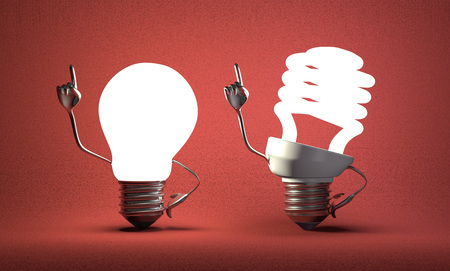 Glowing fluorescent light bulb character and tungsten one in moment of insight on red textured background photo