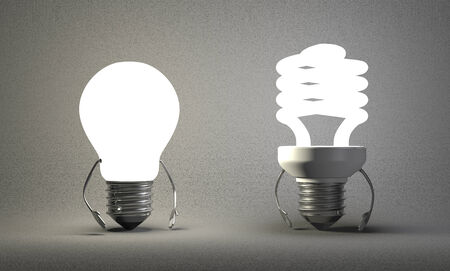tungsten: Glowing tungsten light bulb character and fluorescent one on gray textured background