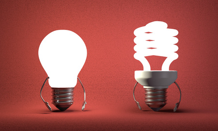 tungsten: Glowing tungsten light bulb character and fluorescent one on red textured background