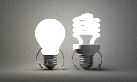 tungsten: Glowing tungsten light bulb character standing beside fluorescent one on gray textured background