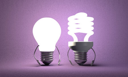 tungsten: Glowing tungsten light bulb character standing beside fluorescent one on violet textured background Stock Photo