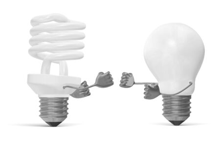 tungsten: White fluorescent light bulb character and tungsten one fighting with their fists isolated on white
