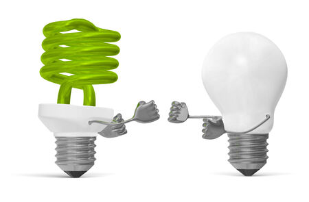 struggle: Green fluorescent light bulb character and white tungsten one fighting with their fists isolated on white