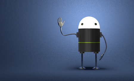 Robot with glowing head, black plastic body, metallic arms and legs waving hand on blue textured background photo