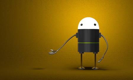 Robot with glowing head, black plastic body, metallic arms and legs waving hand on yellow textured background photo