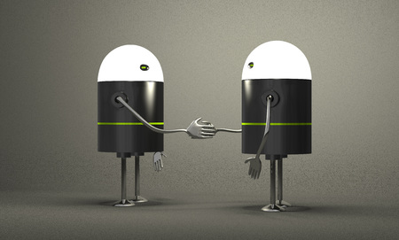 Robots with glowing heads handshaking on gray textured background photo