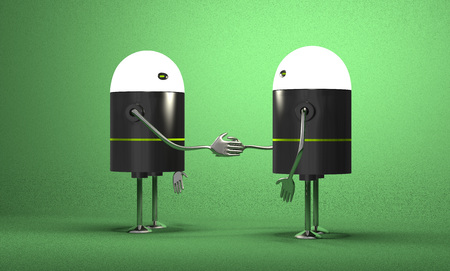 Robots with glowing heads handshaking on green textured background photo
