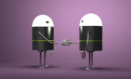 Robots with glowing heads handshaking on violet textured background photo