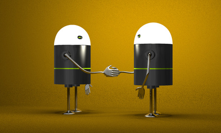 Robots with glowing heads handshaking on yellow textured background photo