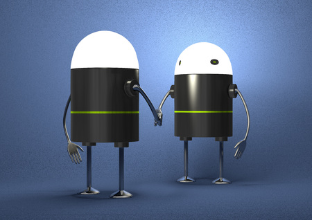 Robots with glowing heads handshaking on blue textured background, front view photo