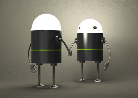 Robots with glowing heads handshaking on gray textured background, front view photo