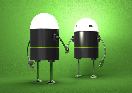 Robots with glowing heads handshaking on green textured background, front view photo