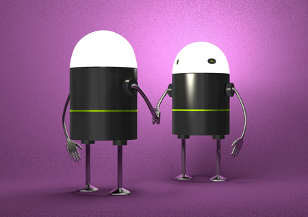 Robots with glowing heads handshaking on violet textured background, front view photo