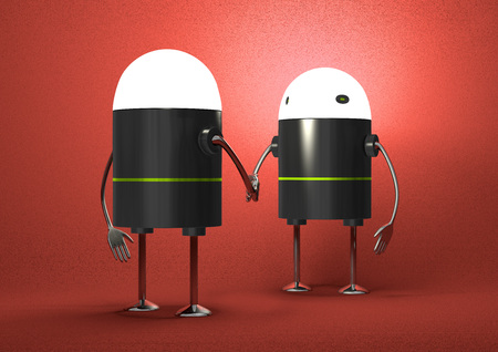 Robots with glowing heads handshaking on red textured background, front view photo