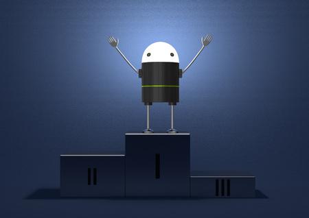 triumphant: Triumphant robot with glowing head, black plastic body, metallic arms and legs on podium on blue textured background