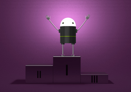 triumphant: Triumphant robot with glowing head, black plastic body, metallic arms and legs on podium on violet textured background Stock Photo