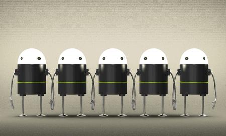 회색 질감 된 배경에 손을 잡고 빛나는 머리를 가진 많은 로봇