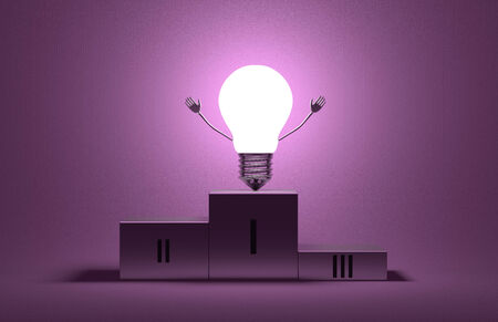aha: Glowing triumphant tungsten light bulb character on podium on violet textured background Stock Photo