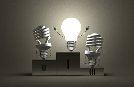 Glowing tungsten light bulb character and switched off fluorescent ones on podium on gray textured background photo