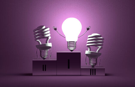 Glowing tungsten light bulb character and switched off fluorescent ones on podium on violet textured background photo