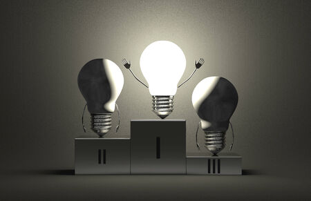 triumphant: Triumphant glowing tungsten light bulb character and two switched off ones on podium on gray textured background
