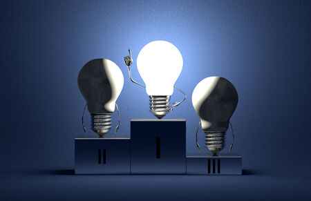 Glowing tungsten light bulb character in moment of insight and two switched off ones on podium on blue textured background Stock Photo