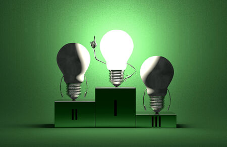 Glowing tungsten light bulb character in moment of insight and two switched off ones on podium on green textured background photo