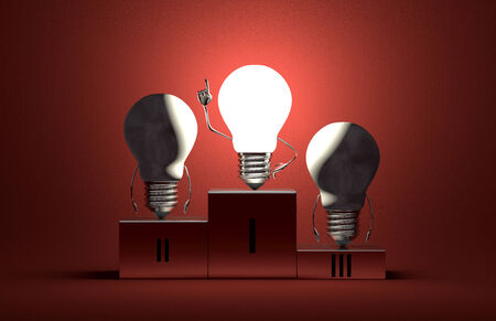Glowing tungsten light bulb character in moment of insight and two switched off ones on podium on red textured background photo