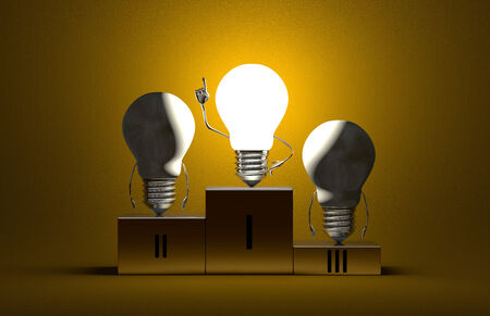 aha: Glowing tungsten light bulb character in moment of insight and two switched off ones on podium on yellow textured background Stock Photo