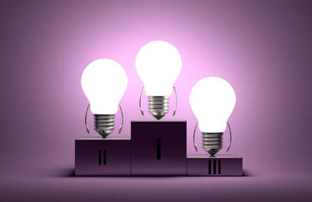 Glowing tungsten light bulb characters on podium on violet textured background photo