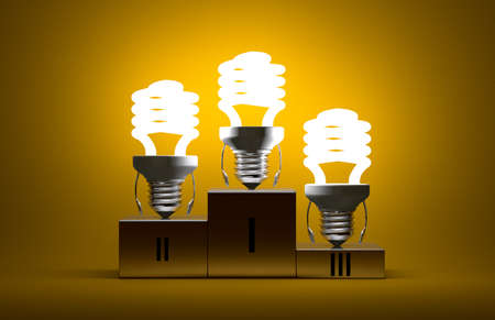 Glowing fluorescent light bulb characters on podium on yellow textured background photo
