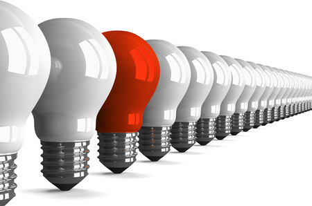 Red tungsten light bulb and many white ones isolated on white, perspective view, 3d render